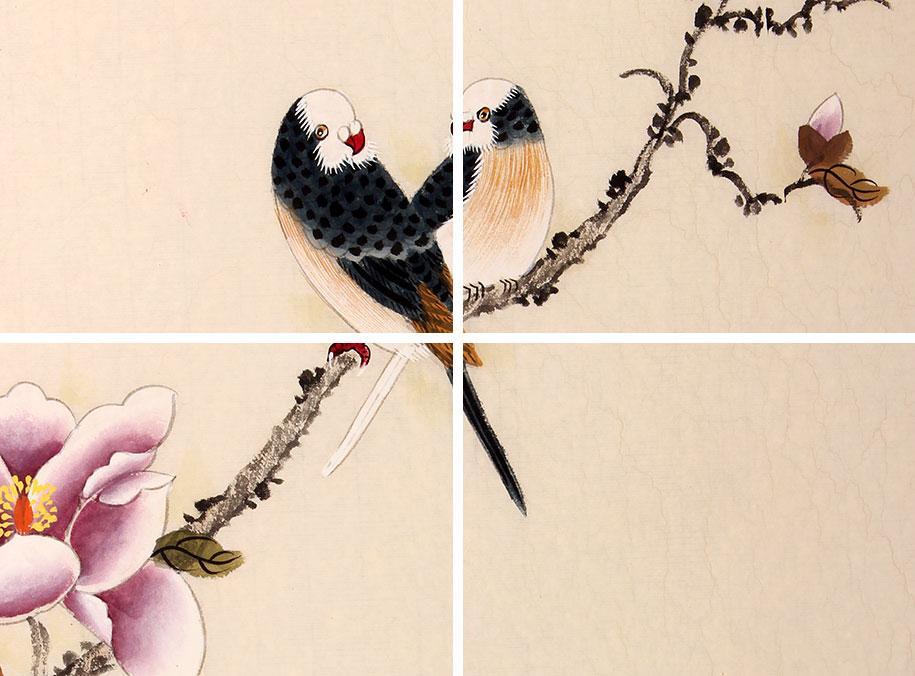 北京美协 工笔画名家 凌雪三尺工笔画《玉兰双雀》作品交易,价格报价