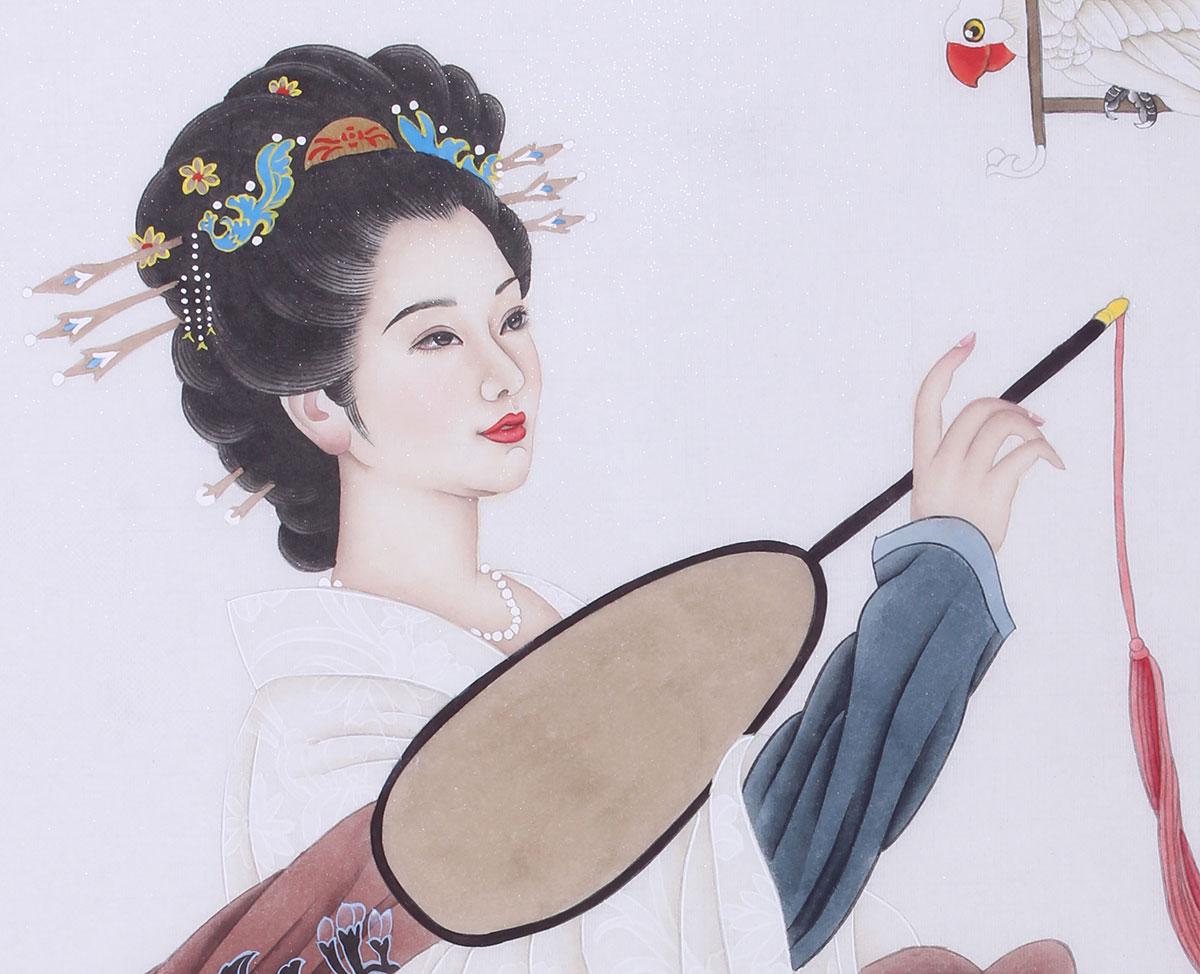 河北美协王梓旭四尺工笔美人图-古代人物-艺拍字画网