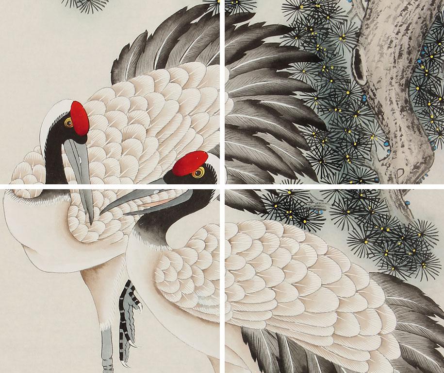 北京美协 工笔画名家 凌雪四尺工笔画 松鹤延年