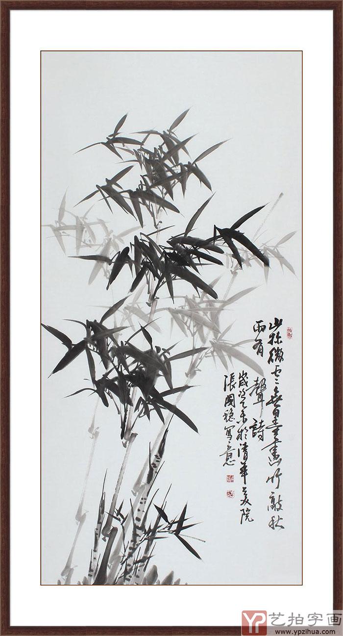 当代画竹名家张国稳 四尺竖幅竹子画《山林微云》图片