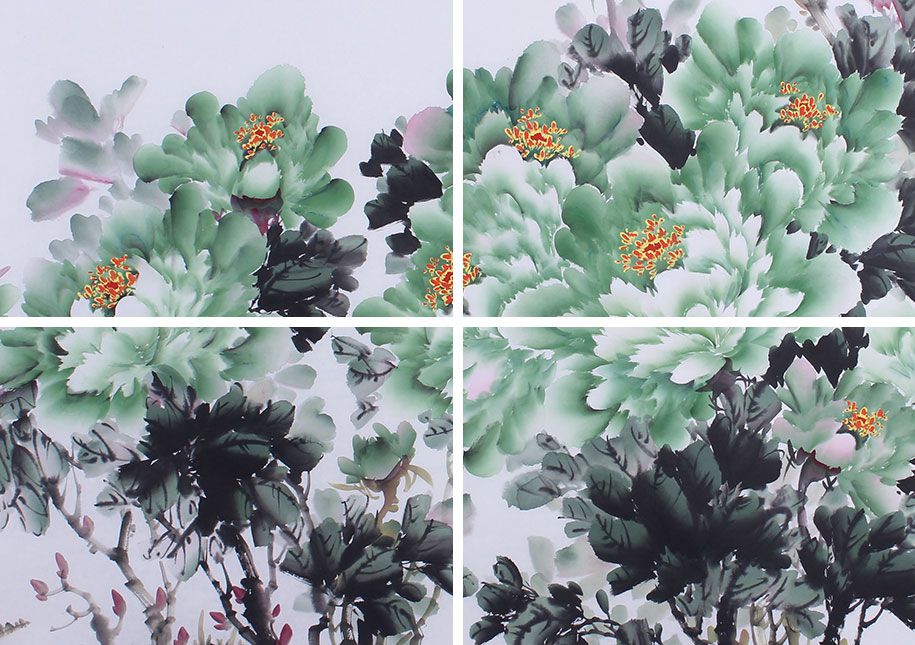 牡丹仙子井秋月 六尺写意花鸟画作品 花开富贵