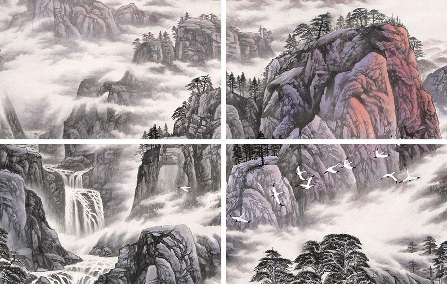 【已售可定制】张振栋六尺横幅写意山水画作品《日映江山图》