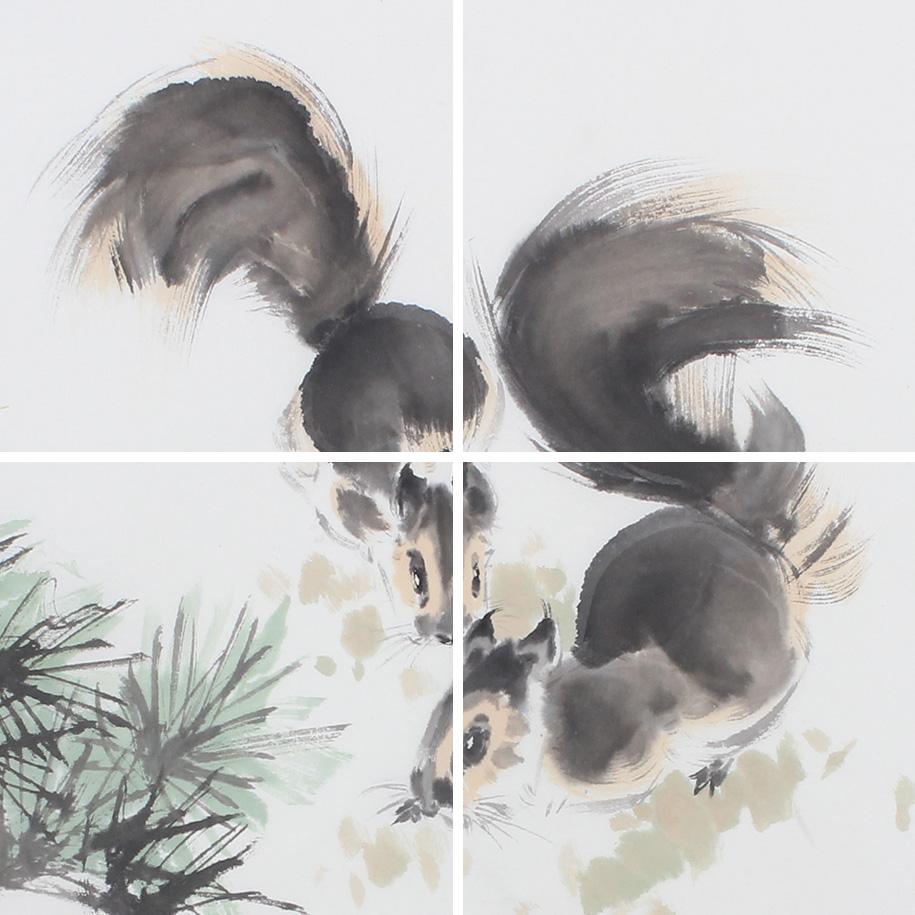 书房挂画 王文强国画动物画童趣图系列《两只松鼠》