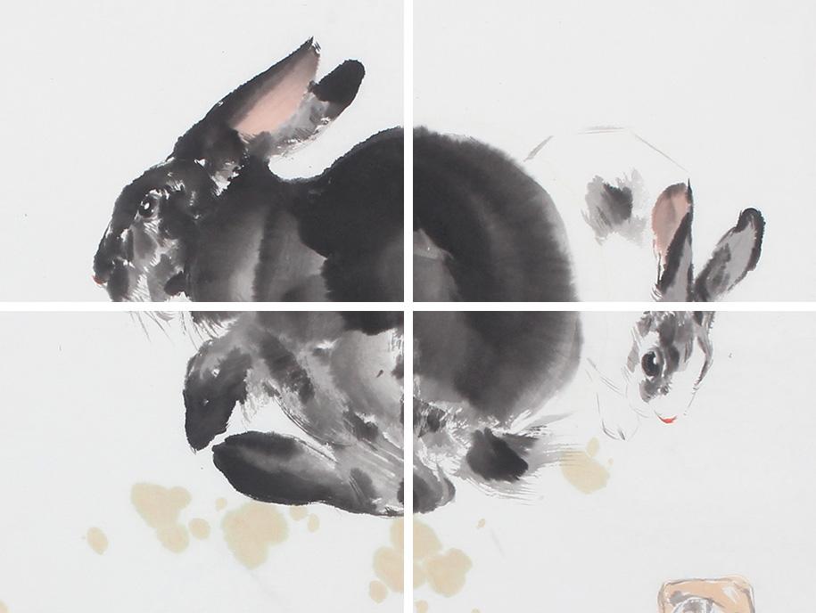 王文强动物画作品十二生肖之《兔》
