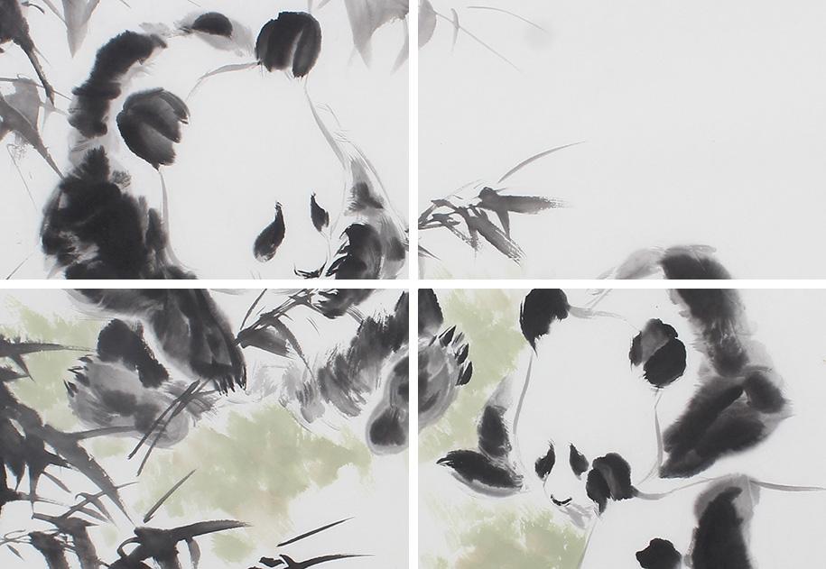 【询价】书房装饰画 王文强四尺动物画作品《国宝图》