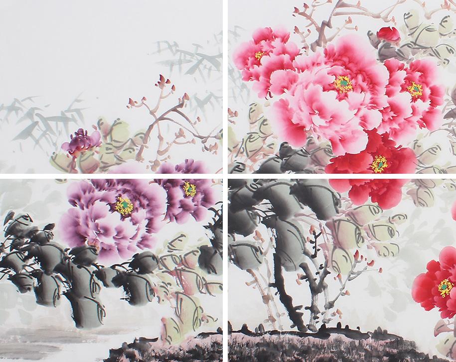 安徽美协云志写意六尺横幅国画牡丹图 富贵吉祥