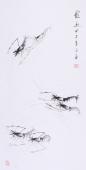 白石艺术研究会郭岚三尺写意虾《虾趣》