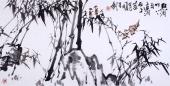 【已售】一级美术师韩有钊四尺竹《点滴竹下雨 遥润石上台》