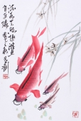 【已售】一级美术师韩有钊国画鱼《流水天然趣 游鱼自在缘》