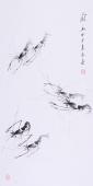 【已售】齐派名家郭岚三尺写意国画《虾趣》