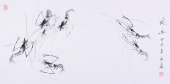 【已售】齐派画虾名家郭岚三尺横幅花鸟画作品《虾趣图》
