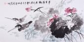 花鸟画家李刚四尺国画荷花《梦里荷乡》