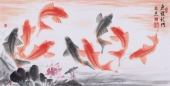 东方鱼圣周爽三尺风水画《鱼跃龙门》