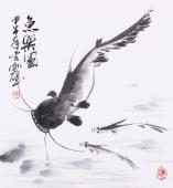 青年花鸟名家李刚国画《鱼乐图》