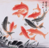 东方鱼圣周爽四尺斗方风水画《富贵久鱼》