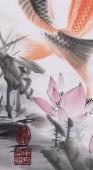 【已售】东方鱼圣周升达四尺斗方风水鱼画《富贵久鱼》