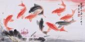 东方鱼圣周爽三尺风水画《富贵久鱼》