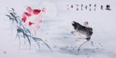 【已售】山东美协刘合文四尺国画鱼《揽月》