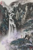【已售】王凌云四尺三开山水画《高山流水》