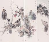江苏美协石慵人物四条屏《四大才子》