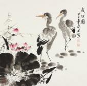 【已售】一级美术师王宝钦四尺斗方《成双图》