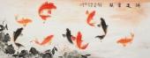 【已售】九鱼图荷花图 董宗周小六尺写意花鸟画《鸿运当头》
