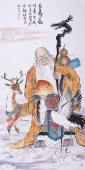 国礼艺术家张利四尺人物画《长寿图》