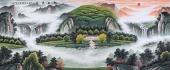 【已售】广西山水名家周翁弟小八尺山水图《旭日东升》