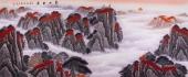 广西山水名家周翁弟小八尺山水图《泰山日出》