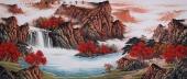 中国酒业书画协会理事曾庆淮小八尺山水《聚宝之地益金晖》