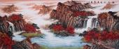 【已售】中国酒业书画协会理事曾庆淮小八尺山水《源远流长广聚财》