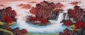 中国酒业书画协会理事曾庆淮小八尺山水《源远流长广聚财》