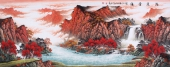【已售】中国酒业书画协会理事曾庆淮六尺山水画《鸿运当头》