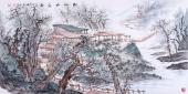 茶楼装饰画 曾庆淮工笔山水画作品《松山幽居图》
