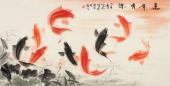 董宗周四尺横幅写意花鸟画作品《连年有余》