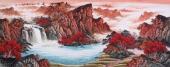中国酒业书画协会理事曾庆淮六尺山水画《天开鸿运》