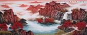 中国酒业书画协会理事曾庆淮小八尺山水《聚宝之地溢金晖》