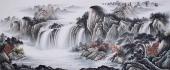 中国酒业书画协会理事曾庆淮小八尺山水《祥云飞瀑》