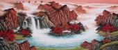 【已售】中国酒业书画协会理事曾庆淮小八尺山水《宝山富水》