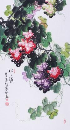 广西名家黄艺三尺国画葡萄《秋之韵》