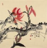 【已售】祝寿图 中国美协肖映梅花鸟画作品《百合诗意》