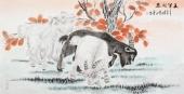 中国书画家协会常务理事李孟尧  四尺动物画《三羊开泰》