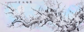 广西花鸟名家周翁弟六尺梅花图《寒梅傲雪》