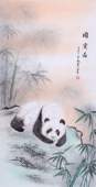 河南著名动物画家郭凤丽 四尺工笔《国宝图》