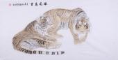 河南著名动物画家郭凤丽 四尺工笔虎《雄风万里》