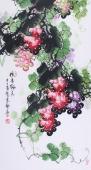 【已售】广西名家黄艺三尺 国画葡萄《硕果累累》