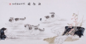 郭凤丽 四尺工笔动物画《秋趣图》