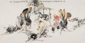 当代书画美术名人李傅宇 四尺人物画《高士对弈图》