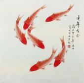 【已售】北京美协 工笔画名家 凌雪斗方工笔鱼《连年有余》