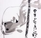【已售】禅一居士周自豪三尺国画荷花《水面风光鱼不知》
